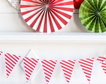 Red and White Stripe Banner - Candy Cane Stripe Banner - Red and White Stripe Banner - Christmas Pennant Banner - Red and White StripeHYP405