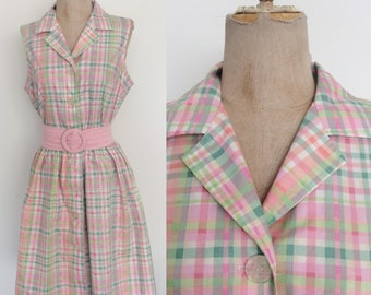 1980's Pink & Green Plaid Shirtwaist Dress Size Large by Maeberry Vintage