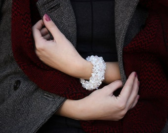 Bridal jewelries, Cuff bracelet, Beaded bracelet, Bridal bracelet, Rosy Frost cuff bracelet with Quartz and Rock crystals
