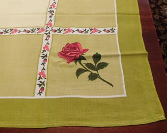 vintage TABLECLOTH green with  pink roses