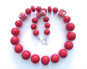 Red and White Kazuri Necklace, Ceramic Jewellery, Kazuri Bead Necklace
