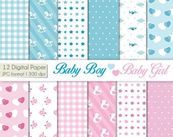 Digital Paper Baby Boys - Baby Girl