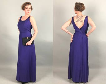 Vintage 1960s Dress | 60s Royal Purple Floor Length Evening Gown with Low Back and Sequin Trim | Medium Large