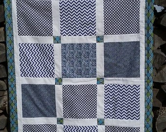 Quilt, Pieced Quilt, Blanket, Baby Blanket, Baby Quilt, Throw, Lap Blanket, Lap Quilt, Lap Throw, Navy Blue Quilt.
