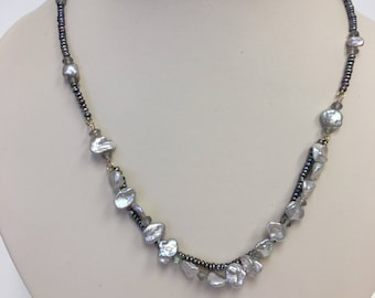 OOAK Freshwater Pearl Necklace with Keshi Pearls