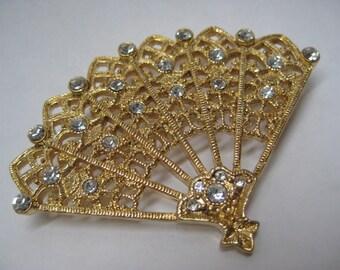 Fan Filigree Rhinestone Brooch Clear Vintage Pin