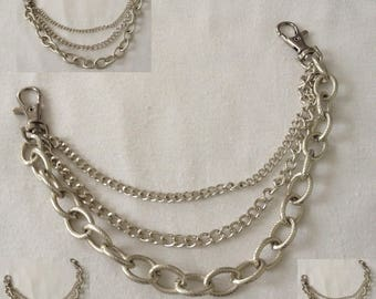 Chain 3 in 1 silver 30 cm with two hooks for bags, sewing notions designs