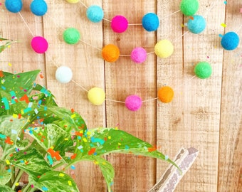 Felt Ball Garland,  Blue, Yellow, Green, Orange, Hot Pink, Aqua, Teal  - Birthday - Colorful Garland,  Pom Poms - Playroom - Decor