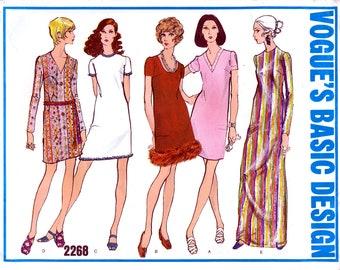 Vogue's Basic Design 2268 Vintage 60s Sewing Pattern for Misses' One-Piece Dress - Uncut - Size 12 - Bust 34