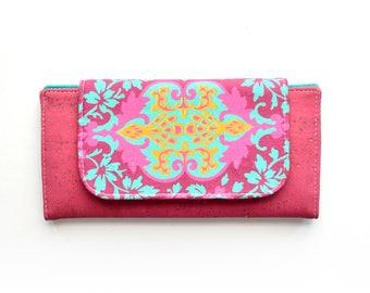 Fuchsia Cork Leather Slimline Wallet