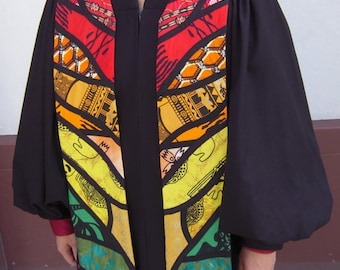 Clergy Stole - African Prints in Swirling Rainbow Stained Glass Pattern