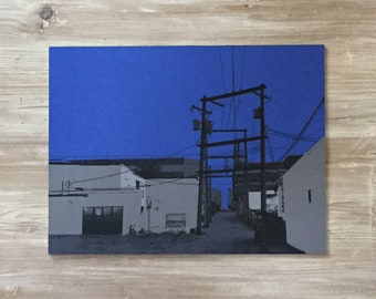 TWILIGHT ALLEY - 300x225mm limited edition hand pulled screen print on plywood - Silhouette art print / wall art
