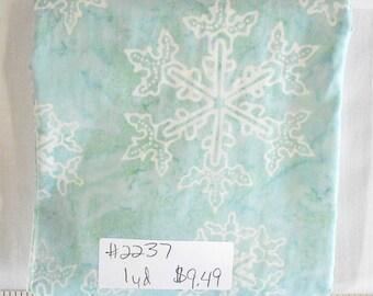 Fabric- 1 yard piece- Moda Batiks/Snowflakes/Let It Snow/Christmas/Xmas/color: Crystal/Blue/coordinating fabrics instore (#2237)