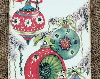 Retro Christmas Bulb Ornaments Gift or Scrapbook Tags or Magnet #253