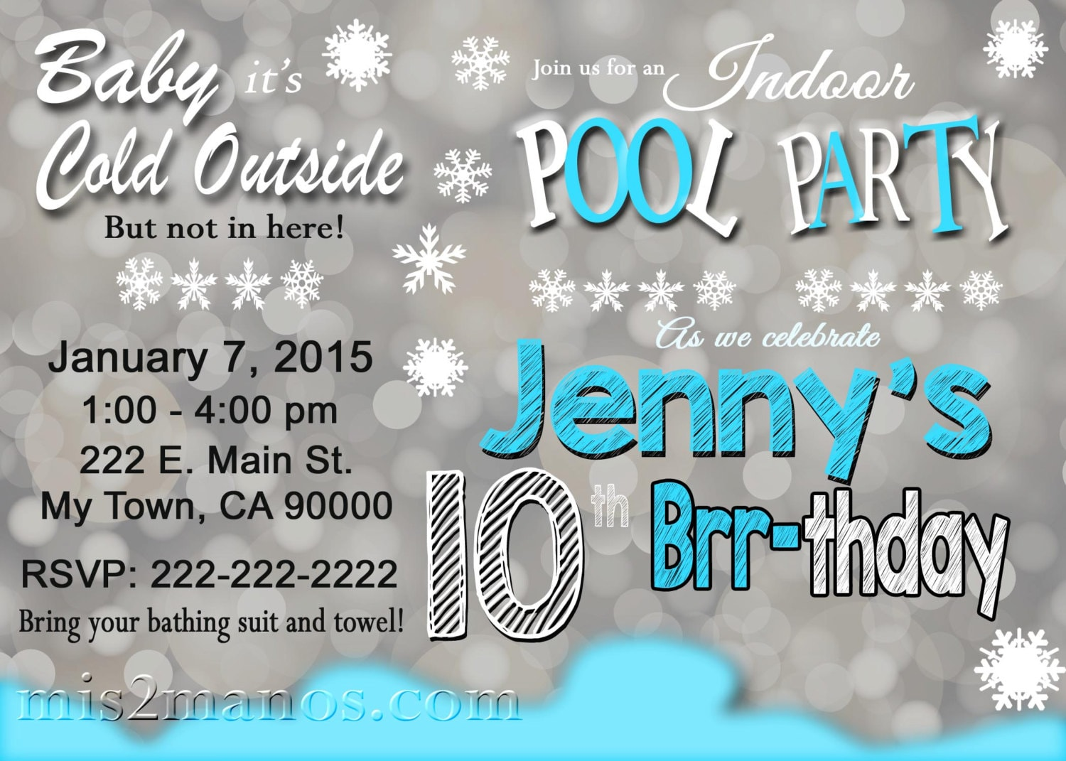 Printable winter pool party invitation winter birthday zoom filmwisefo Image collections