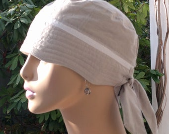 Women's Chemo Hats Cancer Caps Organic Cotton Chemo Cap Adjustable and Reversible MEDIUM