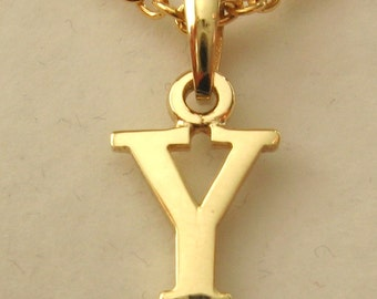 Genuine SOLID 9K 9ct YELLOW GOLD 3D Initial Y Letter Pendant