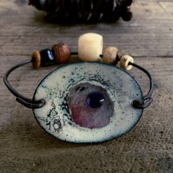 Tribal bangle, copper enamel, evil eye bangle, rustic tribal, bone beads, glass enamel, urban tribal, amulet bangle