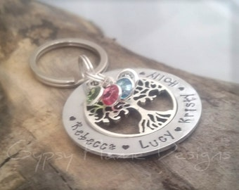 Family tree keyring - personalised keyring - name keyring - tree of life keyring - personalized Keychain - gift for mum - gift for Nan