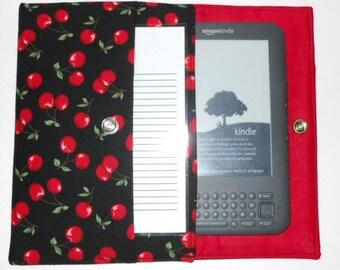 iPad Mini, Kindle, Nook, Kobo, Sony Reader, Samsung Galaxy, Small eReader Padded Case / Cover / Sleeve (READY TO SHIP) - Cherries