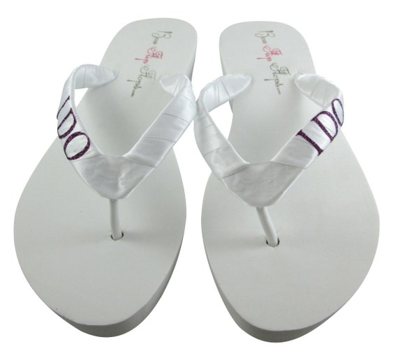Flip I Bride the bling with for choose all color purple heights heel in Bling Flops ivory DO Eggplant white or all Wedding sizes wYEXx8