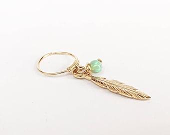Cartilage earring feather earring hoop, cartilage hoop earrings, helix earring, helix piercing, helix hoop earring helix earring hoop