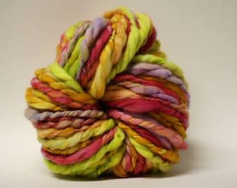 Thick and Thin Yarn Hand Spun Wool Superfine Merino Slub tTs(tm) Hand dyed Extra Super Bulky LR TP 17008