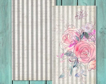 Travelers Notebook Insert, TN Insert, Midori Insert, Bullet Journal, Fauxdori Insert - Pink Flowers and Stripes Set of 2