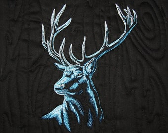 Elk Quilted Canvas Embroidered & Mounted on 10x10 canvas - Ready to Hang by Mary Brader #644
