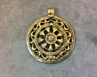 Oxidized Gold Plated Patterned/Textured Large Circle/Medallion Shaped Focal Pendant - Measuring 54mm x 54mm, Approx. - Sold Individually