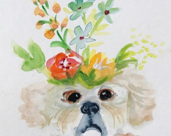 Pekingnese Dog in My Garden with Flowers  Art Print from original watercolor painting illustration
