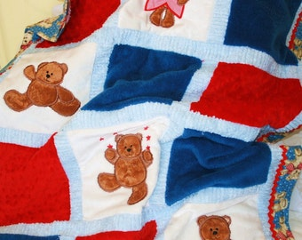 "Personalized Minky Baby Blanket Appliqued ""Fuzzy Teddy Bear """
