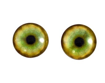 16mm Tiger Glass Eyes - Round Animal Eyes - Pair of Glass Eyes for Doll, Sculpture, Taxidermy or Jewelry Making - Set of 2