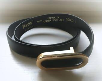 36 USA Cowhide Leather Belt Paris Men's Black Gold Buckle 36/91 Vintage 80's Accessories