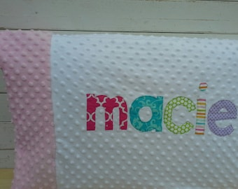 personalized  minky pillow case with accent minky trim and applique name