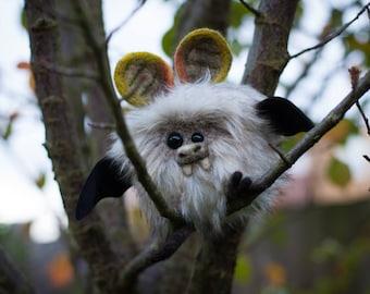 BRAMBLE -  Plush Bat, OOAK Bat Soft Sculpture, Fibre Art, Plush, Needle felting, Halloween Plush