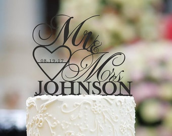 Mr and Mrs Cake Topper Wedding Cake Topper Rose Gold Cake Topper Personalized Cake Topper Wedding Cake Topper with Date
