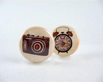 5 Fridge Heart Magnets - camera typewriter clock for magnabilities / brown neutral 1212