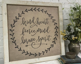 Kids Wall Decor | Kind heart Fierce Mind Brave Spirit | Unique wall art | Inspirational wall art