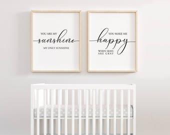 You are my sunshine Set of 2 Printable, Newborn Baby Gift, Baby Shower gift, nursery decor, kid decor, new baby gift, Lyrics decor, Set of 2