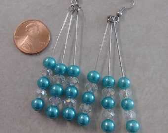 Swarovski clear crystal beads with Glass Pearls dangle earrings