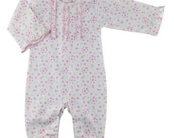 Baby Threads Pima cotton flowers and cheeries print footie NB size only