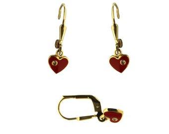 18K Yellow Gold Red enamel Heart with Diamonds Leverback earrings