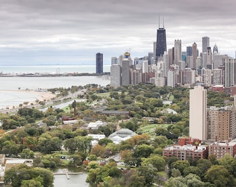 Chicago Skyline - Lincoln Park from Above, Chicago Wall Art, Chicago Photography, Chicago Skyline Canvas, Framed Chicago Art, Chicago Gift
