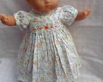 Doll clothes dress has smocked flowers doll 36 cm