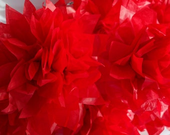 4 Small Scarlet Starbursts CONNECTING PuffScape DIY Tissue Paper Pom Pom Flower Puff Candy Apple Strawberry Red Moroccan Asian Wedding