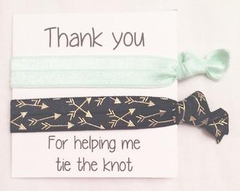 Bridesmaid hair tie favor//solid pale mint & black arrow//hair tie card//bachelotette//bridesmaid