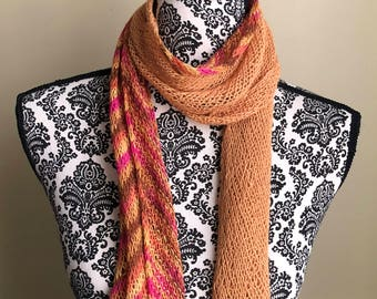 Gold Lace Scarf -  Knitted Scarf, Neck Warmer, Shawl