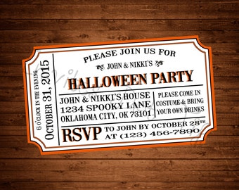 Ticket Style Halloween Invitation (Printable)