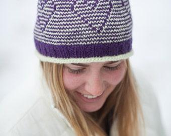 Hat Knitting Pattern PDF, Knitted Hat Pattern, Heart Hat Pattern, Young at Heart Hat Pattern